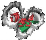 Bullet Hole Torn Metal 3 Shots With Wales Welsh Flag CYMRU Car Sticker 95x85mm